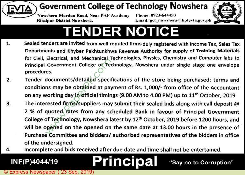 Government-College-Of-Technology-Nowshera-Tender-Notice