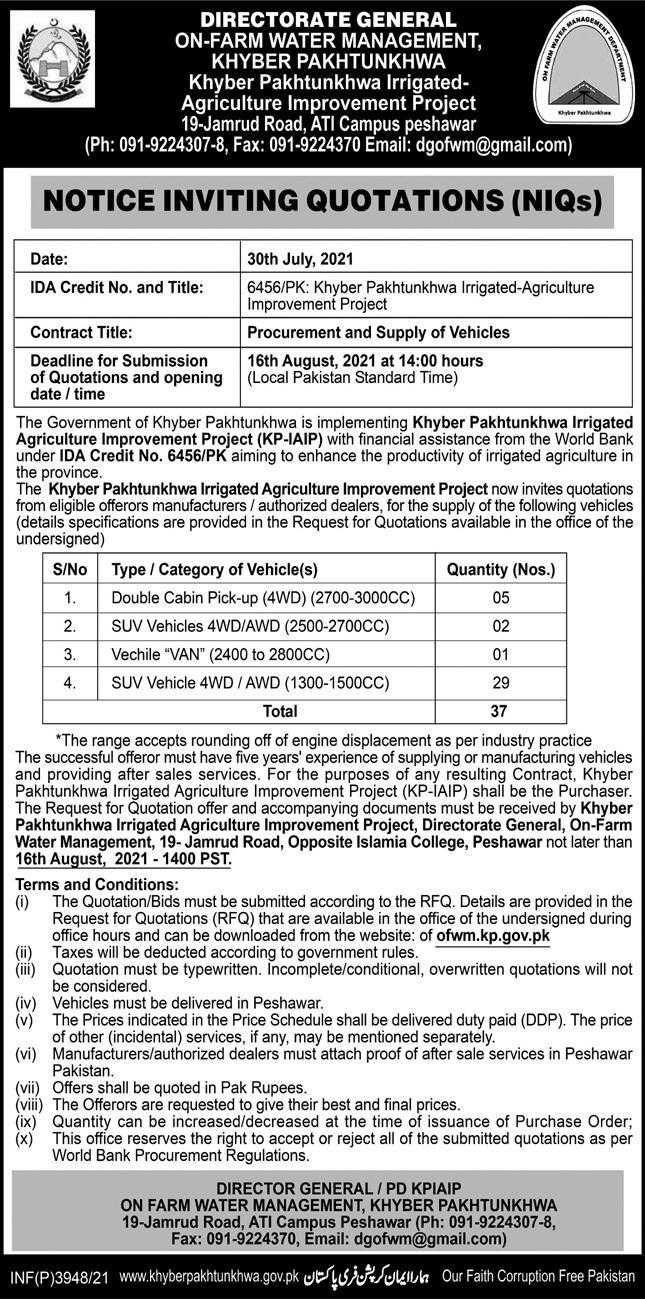 Advertisement_Inviting_Quotation_for_Vehicles_July_31st_2021_Express_Peshawar